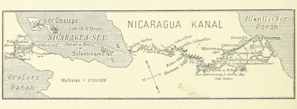 A canal across Nicaragua has been the ambition of wealthy and powerful nations for centuries beginning with the U.S., which almost built it instead of the Panam Canal. Today, it's a Chinese company that's pushing for the Gran Canal. This is from an old German-language publication, showing a proposed route for the canal that is very similar to the one chosen by HKND. Photo by: The British Library.