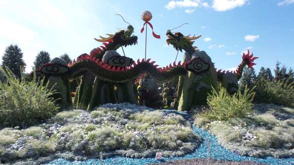 """The Man Who Planted Trees"" and "" Good omen Dragons "" are monumental sculptures on display at Mosaïcultures 2018 in Gatineau"