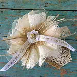 Rustic Burlap Lace Flowers