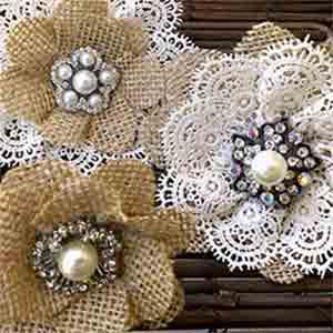 Jeweled Burlap and Lace Cake Flowers