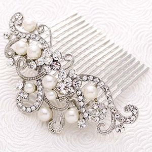 Pearl and Crystal Veil Comb
