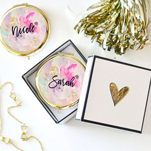 Custom floral compact mirrors