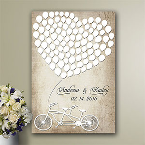 Rustic guest book alternative heart balloon with bicycle