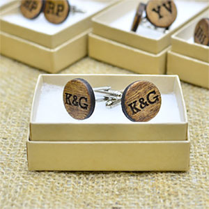Wooden Monogram Cufflinks