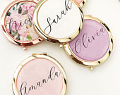 Pretty Bridesmaid Gifts Unique Bridal Shower Favors Mirror Compacts Gold Bridesmaid Mirrors Personalized Gifts for Women (EB3166AD)