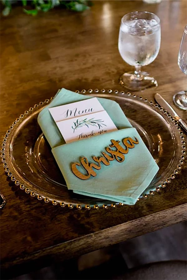 These unique rustic wedding name place cards are laser cut from wood. Choose birch or adler. So cute for simple rustic or fall table settings at receptions. I love the font style. Look for it as the first buy listing on the page #30.00 for 10 birch. Add $10 for adler. #MyOnlineWeddingHelp #RusticWedding #WeddingName #PlaceCards #WoodName #NameCards