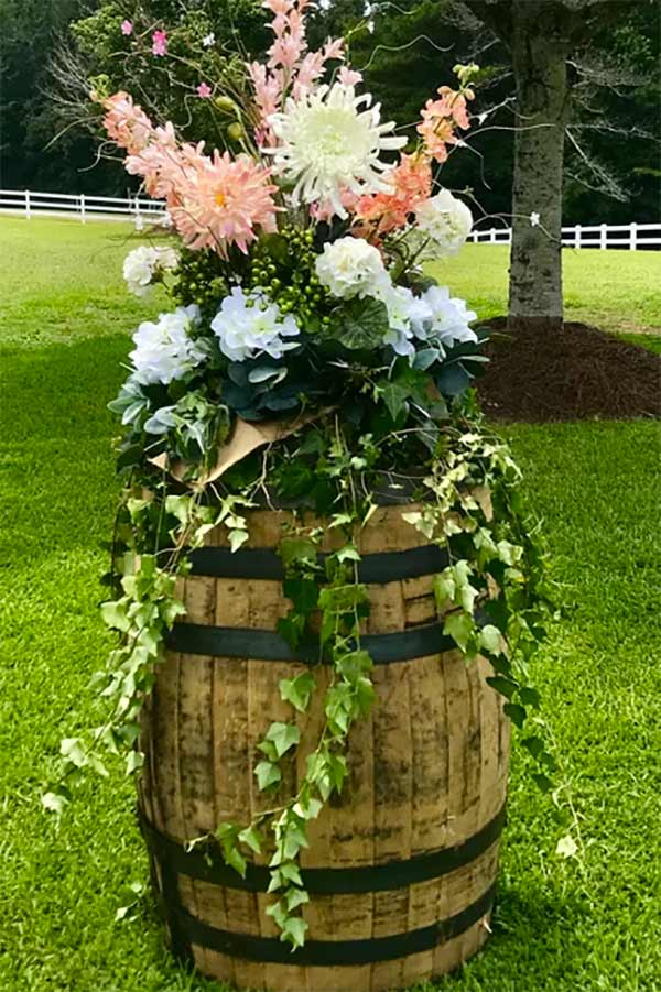 Huge flower bouquet for setting on top a rain barrel, stand or table as wedding decor. In the My Online Wedding Help products section. #MyOnlineWeddingHelp #WeddingDecor