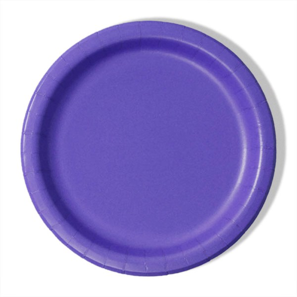 """7"""" Purple Paper Lunch Plates - Quantity: 8 - Household Supplies by Paper Mart"""