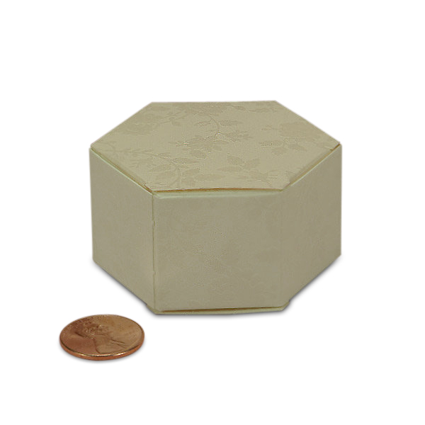"""Lace Hexagon Favor Boxes Cardboard - Quantity: 20 Width: 1 1/4"""" Height/Depth: 1 1/4"""" Length: 2 1/4"""" by Paper Mart"""