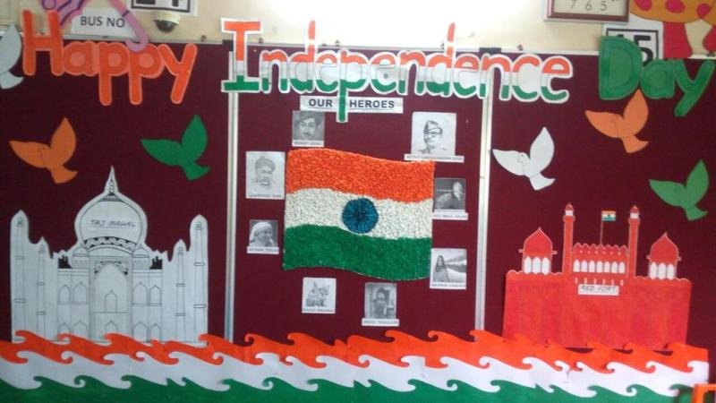 Kg Section Entrance Was Decorated With Pictures Of Freedom Fighters And Great Indian Heroes Like Subhash Chandra Bose Bhagat Singh