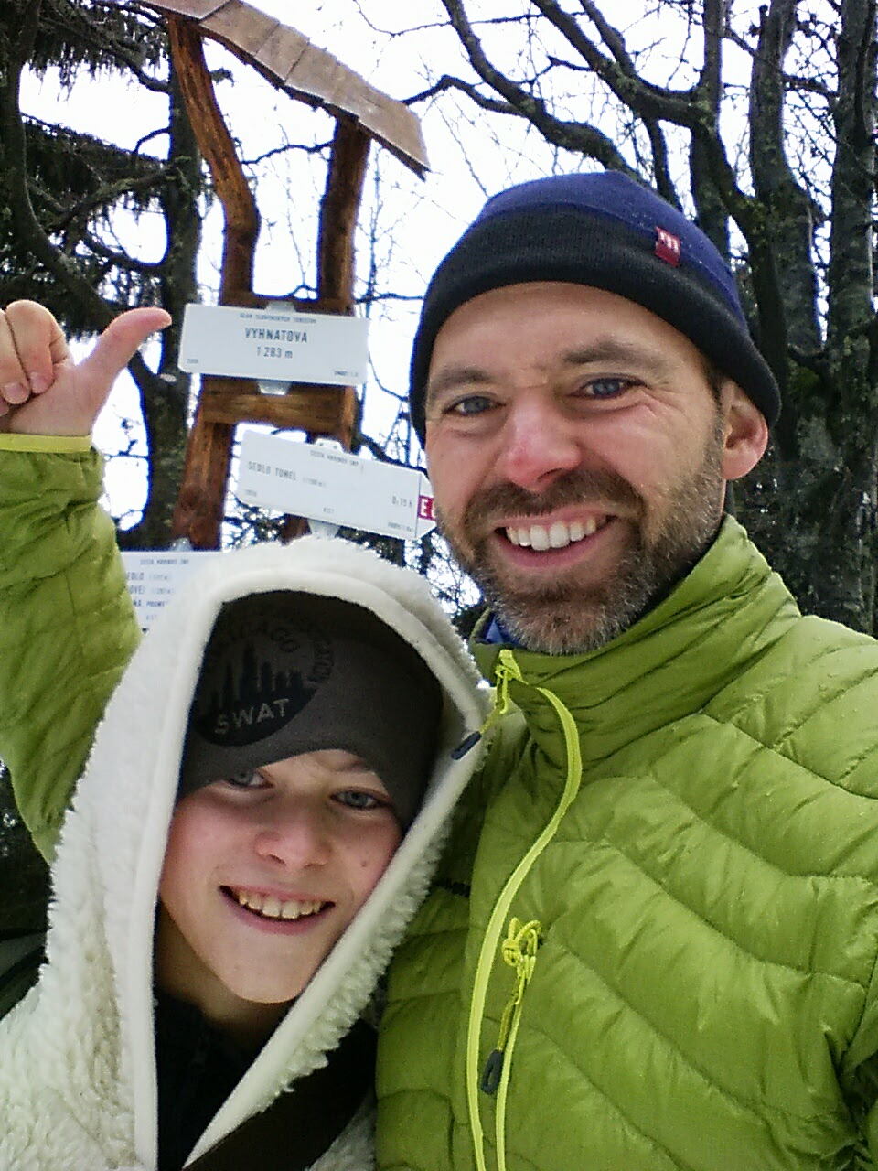 Father son hike up Vyhnatova on November 1 with lots of snow. 1283 meters above sea level.