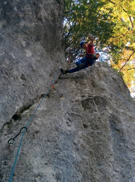 Climbing up newly bolted routes on Bear Cliffs, just a 15 minute walk from our property.