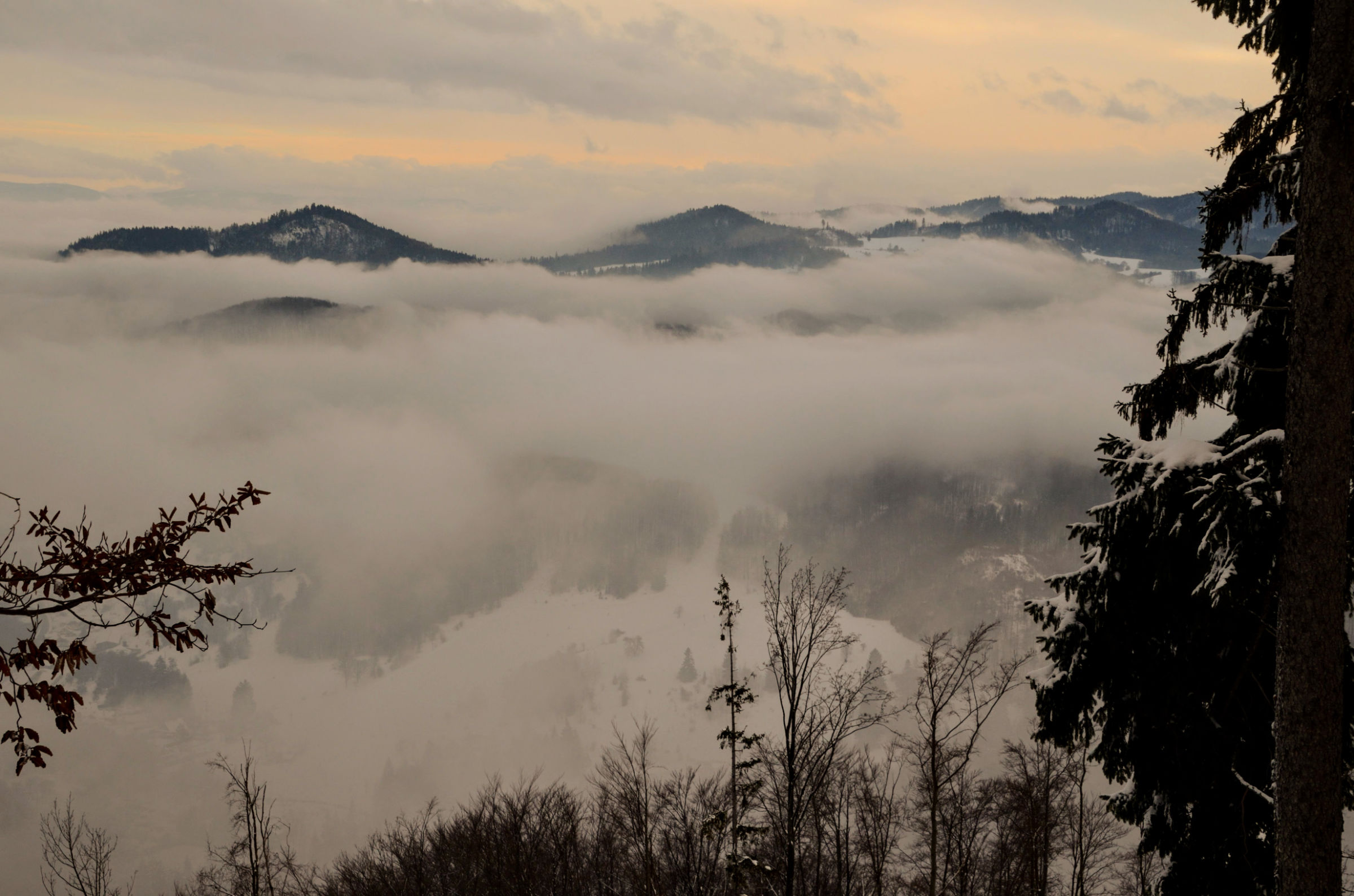 Looking out over the mountains around Banska Bystrica from the hill above our property