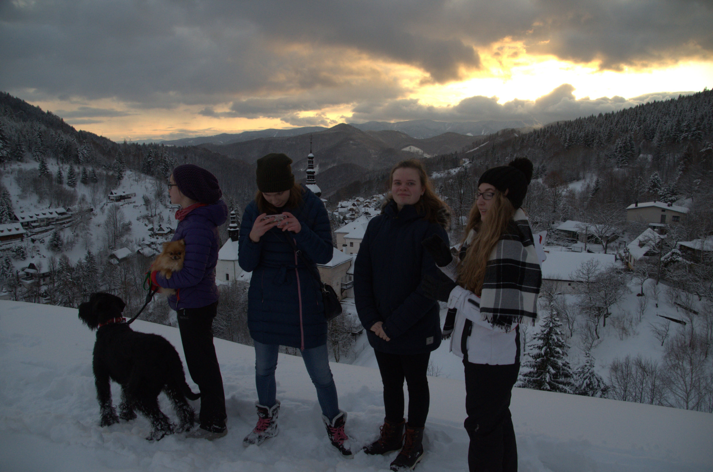 Elisbeth, her friend Bibi, and exchange students from Germany