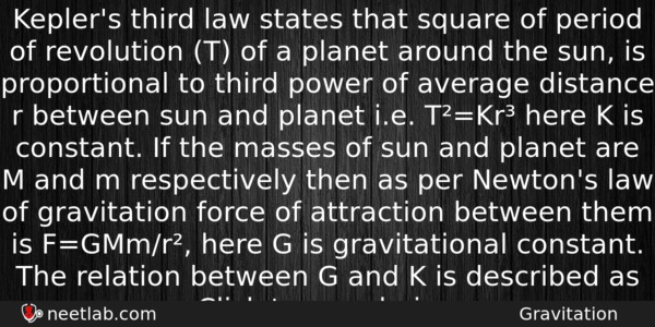 Kepler's third law states that square of period of ...