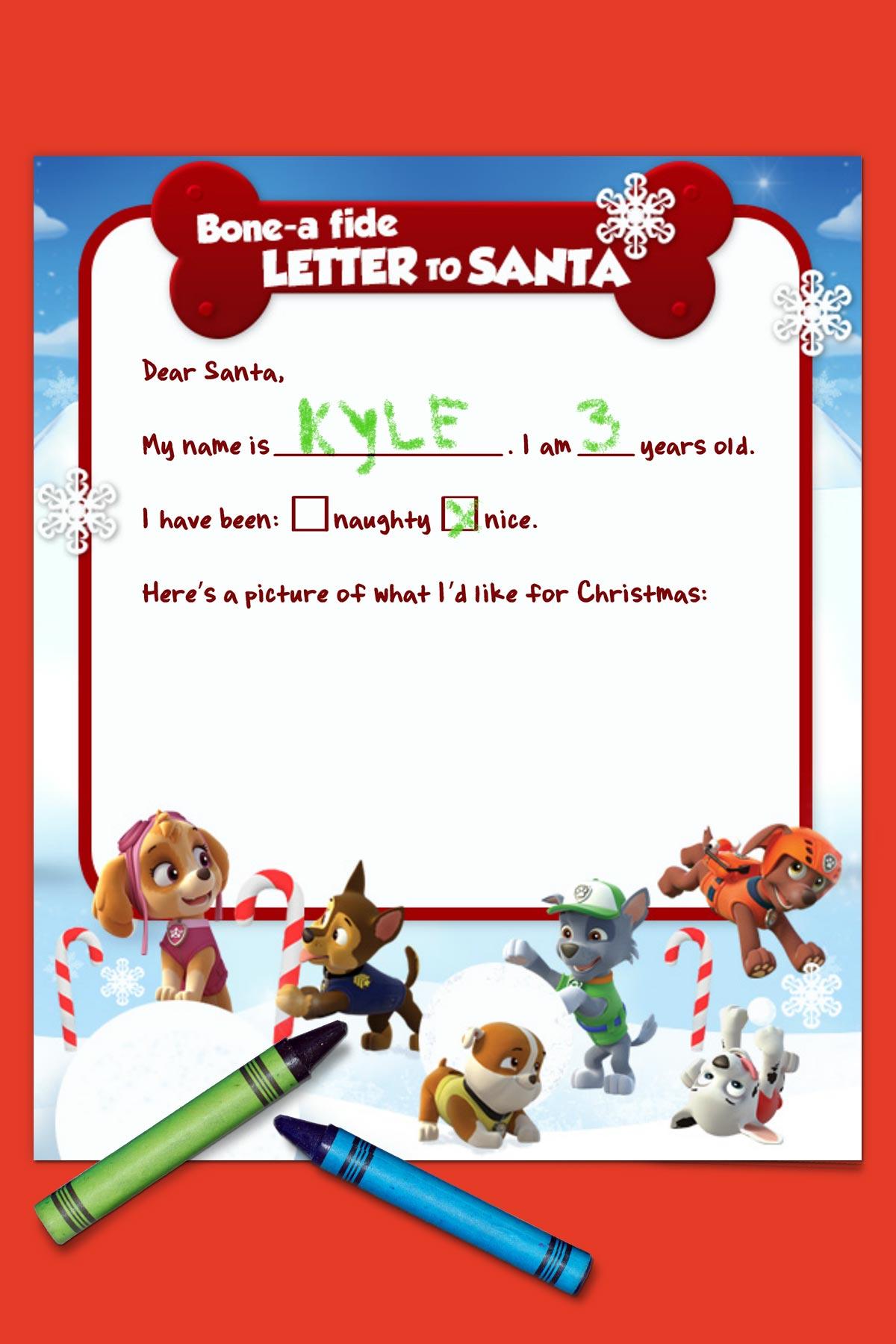 Paw Patrol Letter To Santa