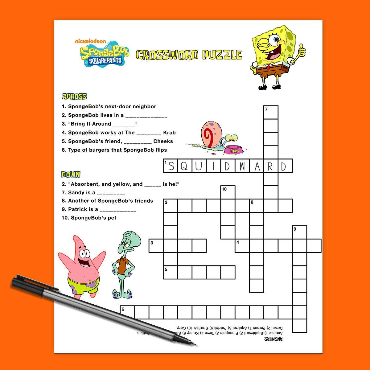 October Crossword Worksheet