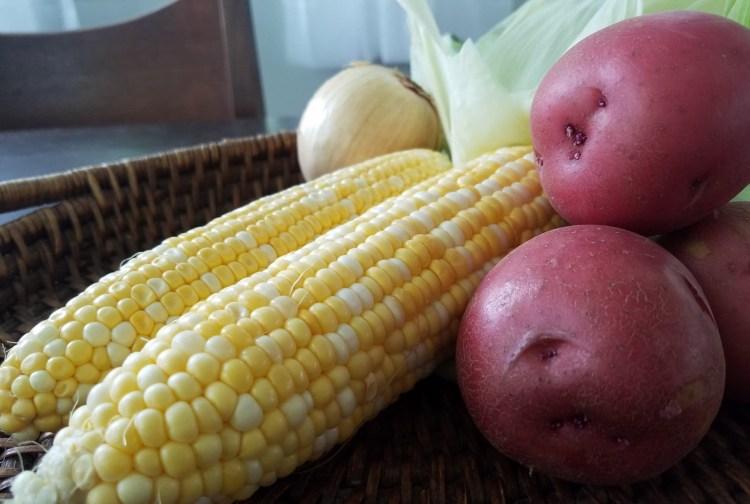 corn, potatoes