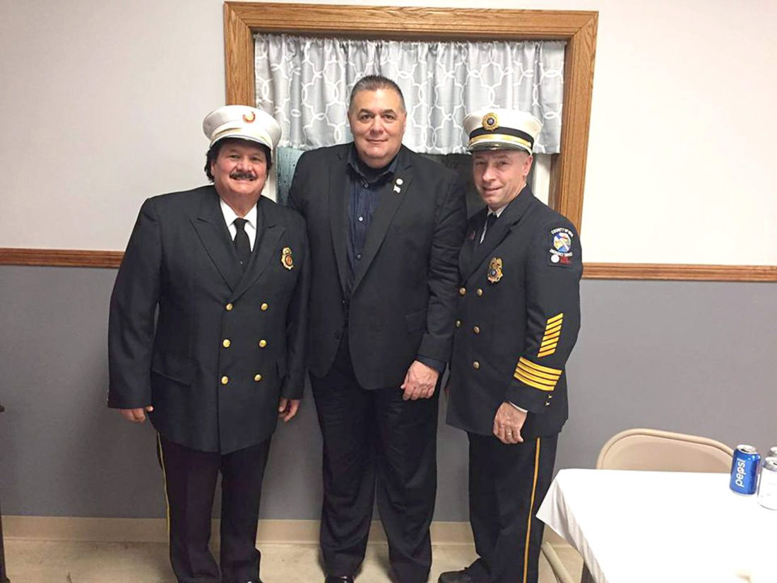 Pictured are Nick Crassi, left, as the Gowanda Fire Department Chief, with guest speakers for the installation dinner: Chris Baker, Cattaraugus County Director and Fire Coordinator; and Tiger Schmittendorf, Erie County Deputy Coordinator of Emergency Services.