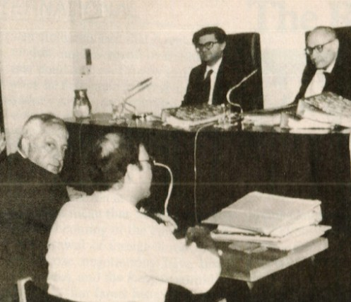 Ariel Sharon In the hot seat - testifying over the Beirut massacre.