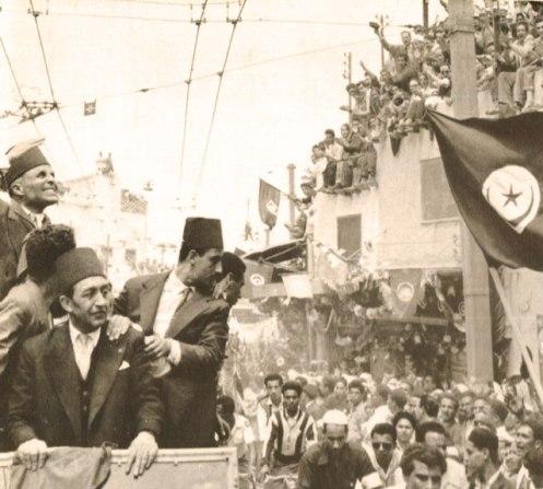 Habib Bourguiba - basking in Independence in Tunis - 1955.