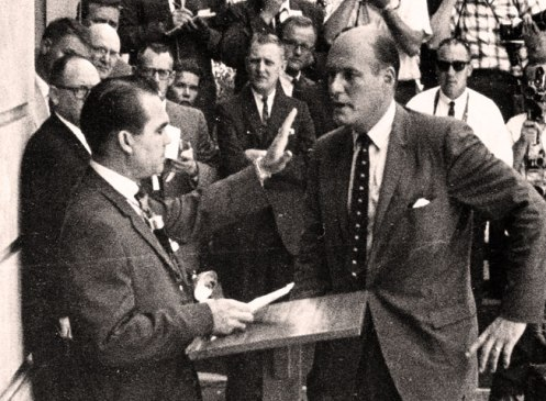 Gov. George Wallace and Deputy Attorney General Nicholas Katzenbach - he who blinks first wins.