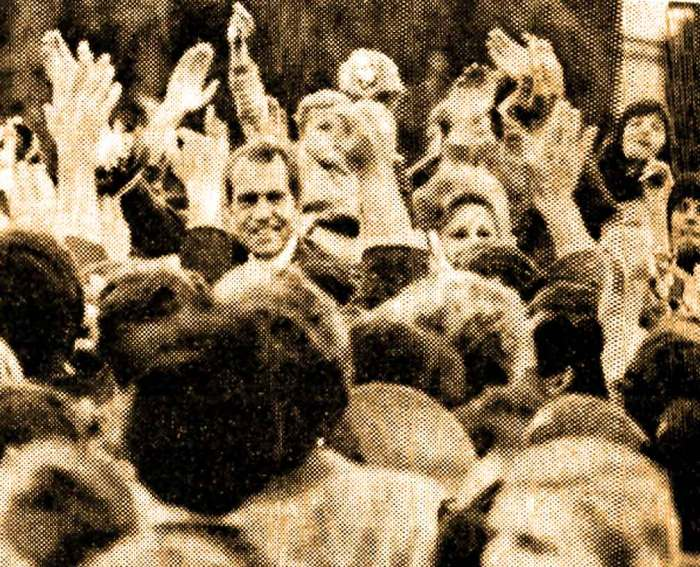 Mobbed by Poles. Nixon on a high note.