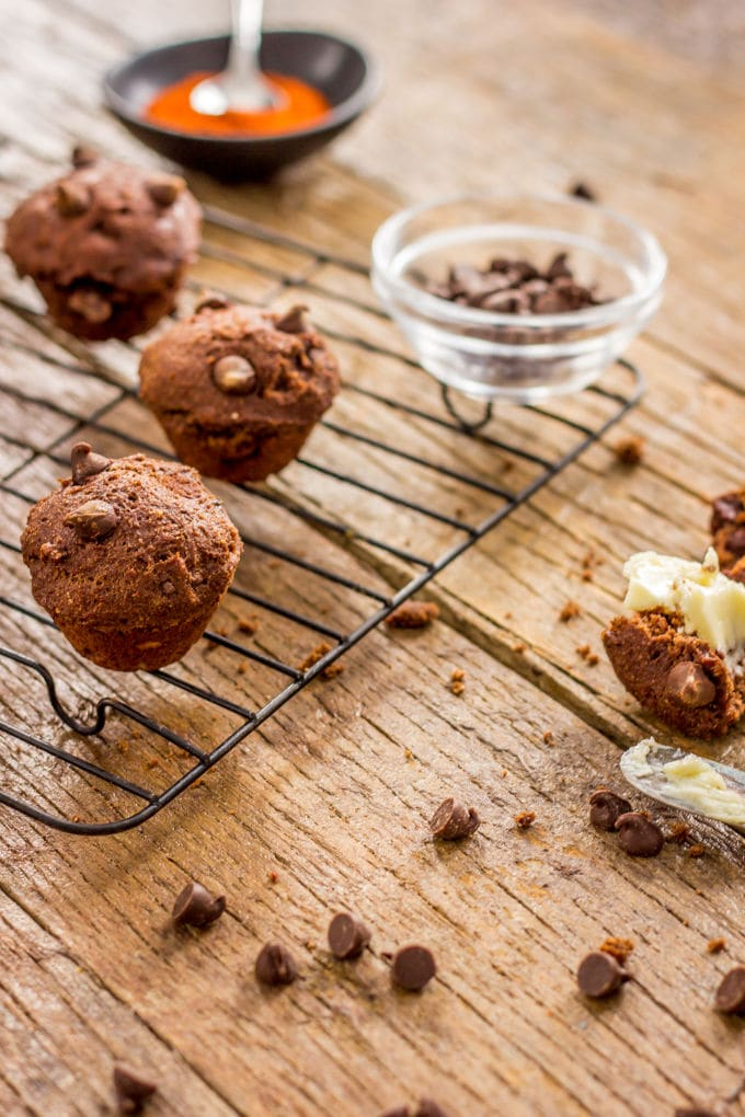 Chocolate Chilli Muffins. An INTENSE double chocolate taste with a little spicy kick | www.onecleverchef.com