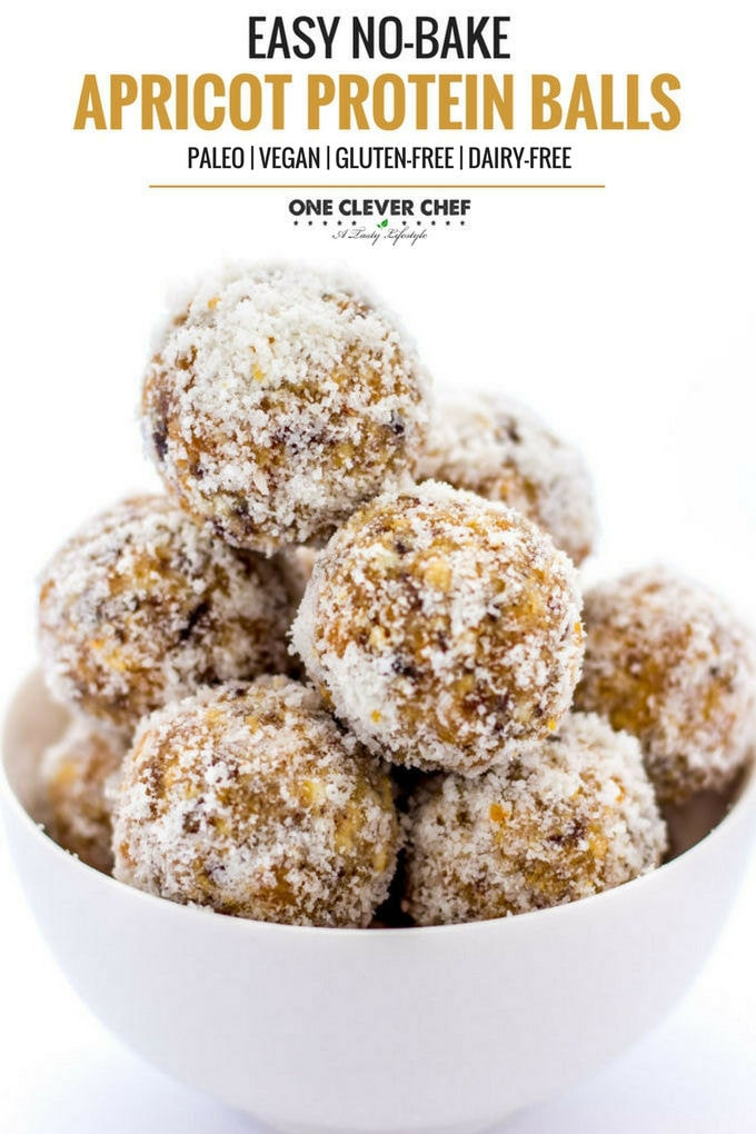 These Apricot Protein Balls are naturally sweetened, easy to make and SO tasty! | onecleverchef.com