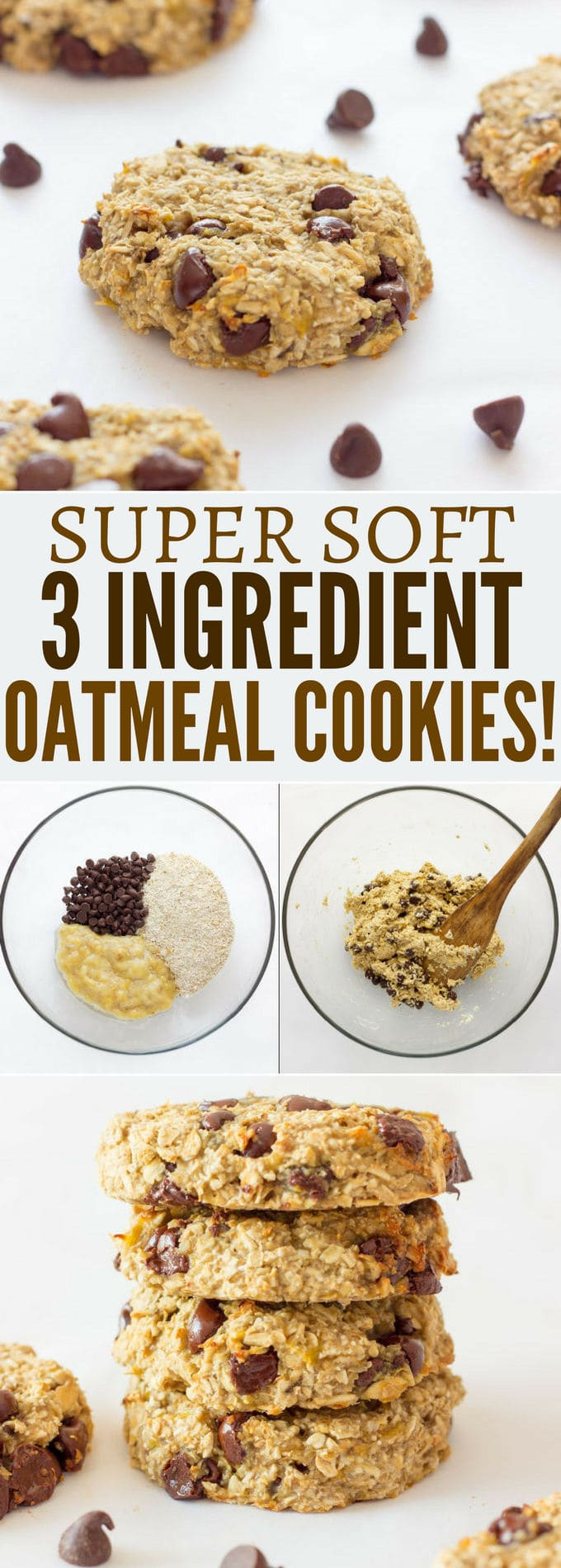 Ready under 20 minutes, these healthy, chewy and soft banana & oatmeal cookies are made with only 3 simple ingredients. They are a very simple and light version of the traditional oatmeal cookie with added dark chocolate chips. Flourless, eggless, low-calorie and low-fat these delicious cookies are made without butter, brown sugar or baking soda. Most homemade traditional oatmeal cookie recipes require that the dough is chilled before cooking, well, no need to refrigerate the dough for that recipe as the preparation holds very well on its own. Paleo, vegan, gluten-free and dairy-free this recipe is friendly to most diets trending right now. Are you on a low cholesterol diet? Give these a shot! | onecleverchef.com