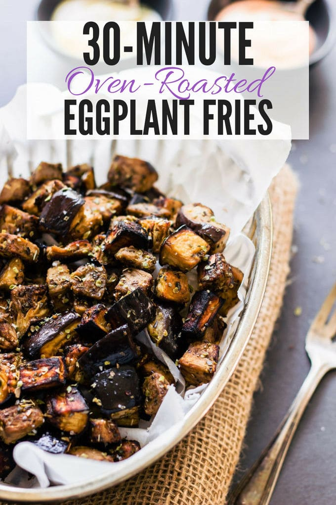 These oven roasted eggplant cubes are a delicious, much healthier alternative to potato fries. The recipe for the balsamic vinaigrette is of Mediterranean inspiration with strong Greek flavors. Super easy to make and 100% healthy, this recipe is also entirely paleo, gluten-free, vegan, low-carb, dairy-free, flourless, nut-free and egg-free. | onecleverchef.com