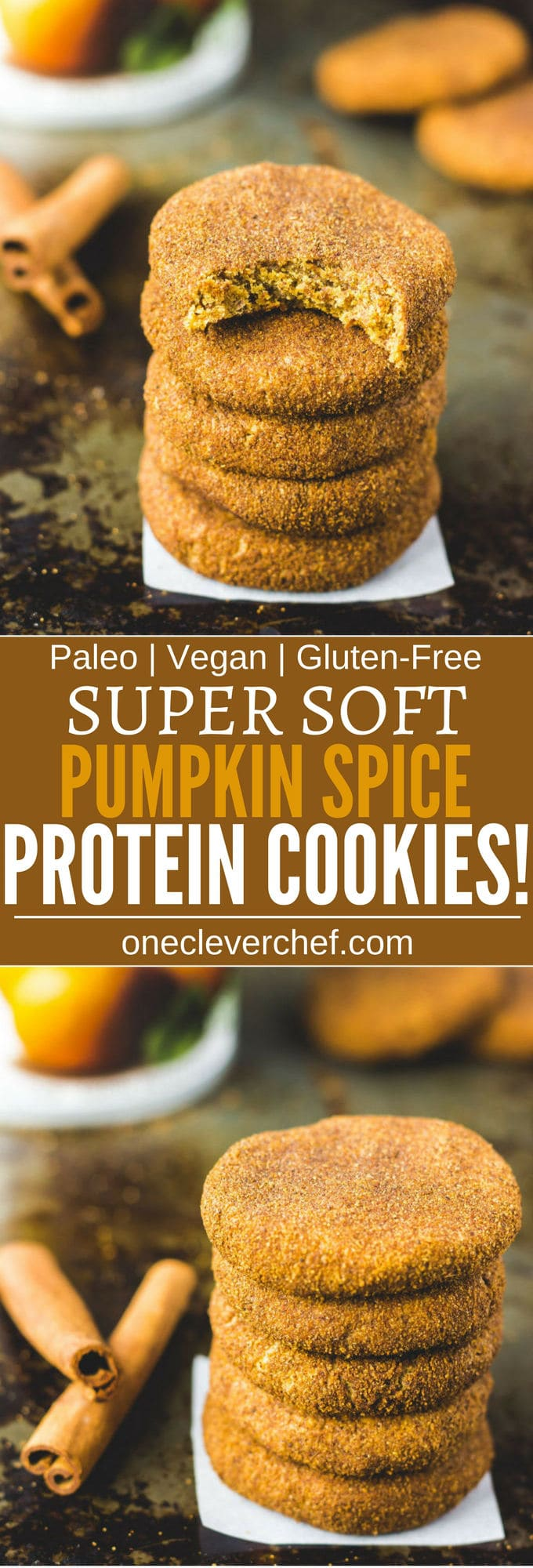 These paleo pumpkin spice protein cookies are soft, chewy and so tasty. Looking for the perfect fall treat? These are the ones. Protein-packed, easy to make and super healthy, these delicious snickerdoodle protein cookies are also paleo, vegan, gluten-free, dairy-free, flourless, grain-free and egg-free. | onecleverchef.com