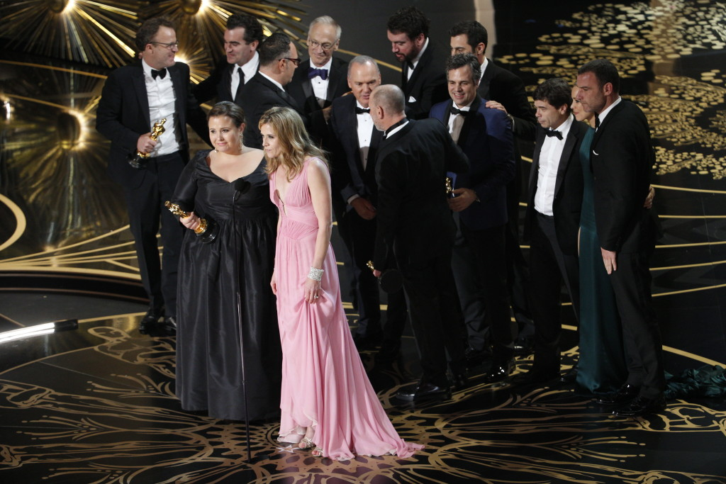 accept the award for Best Picture at 88th Annual Academy Awards.