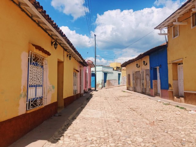 A colorful side street in Latin America