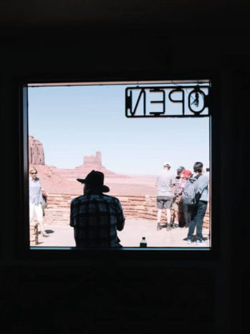 A silhouette of a man at the Monument Valley visitor's center