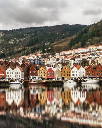 Houses and reflections in Bergen, Norway