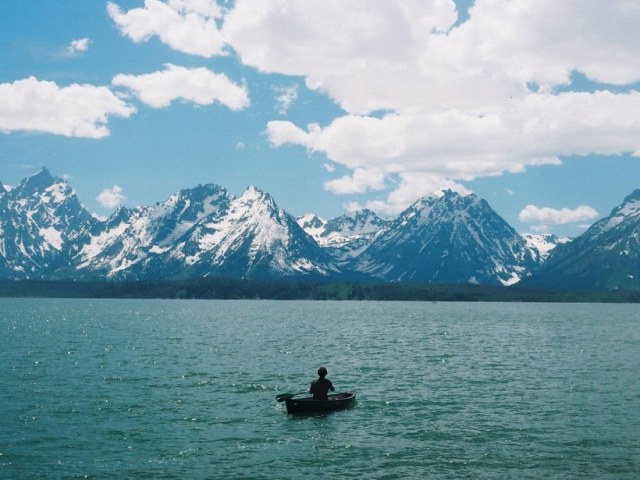 A film photograph of a person canoeing in a lake