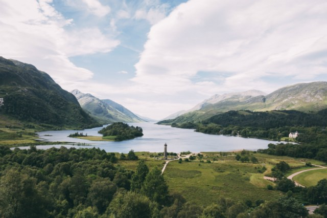 Loch Shiel and the site's monument