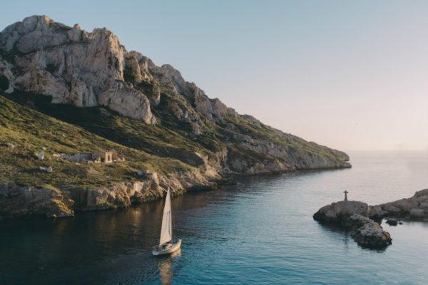 A sailboat in a calanque near Marseille