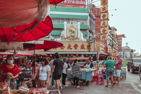 Shoppers and merchants gather in Chiang Mai's Chinatown in a photo by creative Denis Amirtharaj.