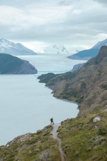 A hiker near the Grey Glacier in Patagonia.