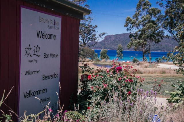 Welcome sign to Bruny Island in Tasmania, Australia