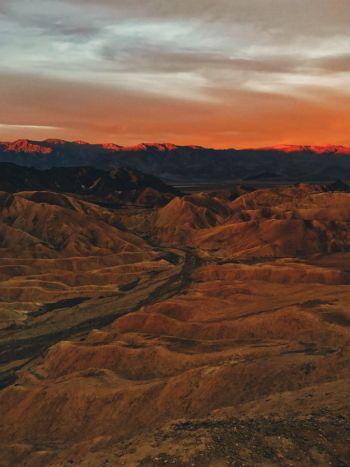 An aerial view of the California desert