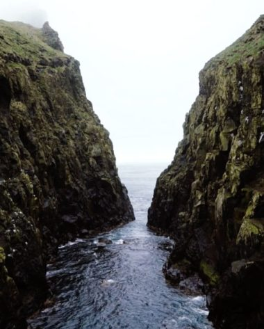 Two cliffs on the coast of the Faroe Islands
