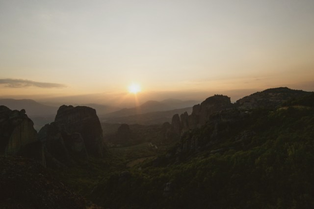 Sunset from Psaropetra Viewpoint in Meteora, Greece.