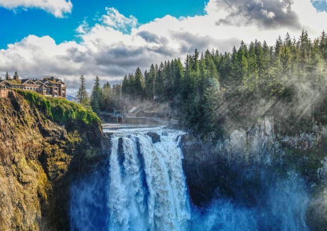 The Twin Peaks waterfall in Snoqualmie, Washington