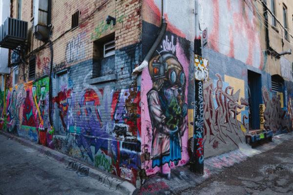 A unusual graffiti-covered street corner in Toronto