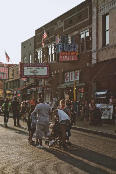 People gather on Beale Street in Memphis, an alternative summer destination