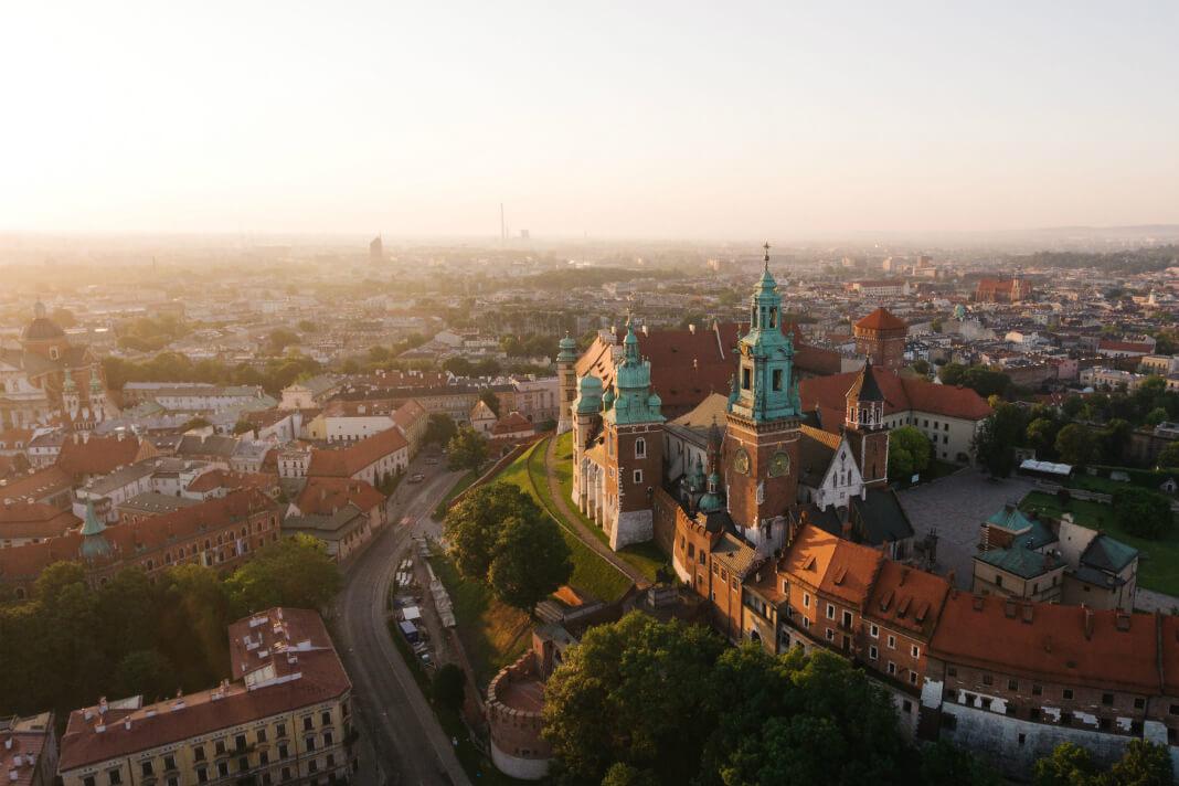 Aerial view of Krakow, Poland