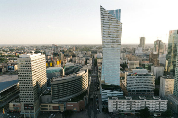 Aerial view of Warsaw's cityscape
